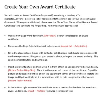award certificate lesson activity for teaching microsoft word skills