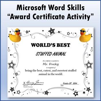 Microsoft Word 2013 Skills - Award Certificate Lesson