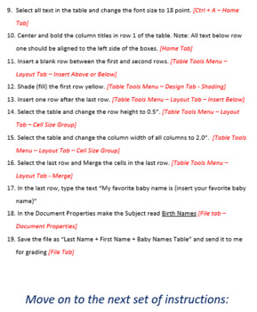 Baby Names Table Lesson Activity for Teaching Microsoft Word Skills