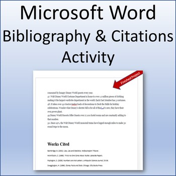 Bibliography and Citations Lesson Activity for Teaching Microsoft Word Skills