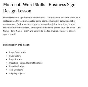 Microsoft Word Skills - Business Sign Design Lesson