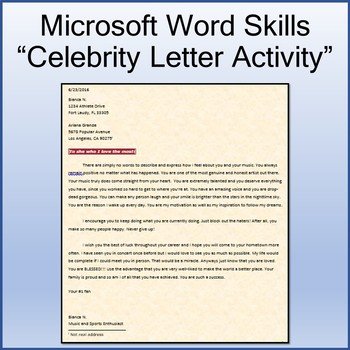 Celebrity Letter Lesson Activity for Teaching Microsoft Word Skills