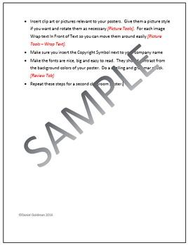 Microsoft Word Skills - Classroom Poster Lesson