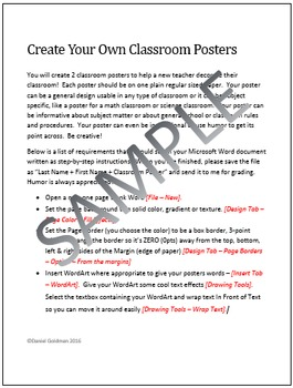 Microsoft Word Skills - Classroom Poster Activity