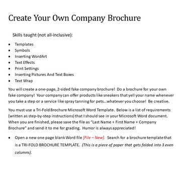 Company Brochure Lesson Activity for Teaching Microsoft Word Skills