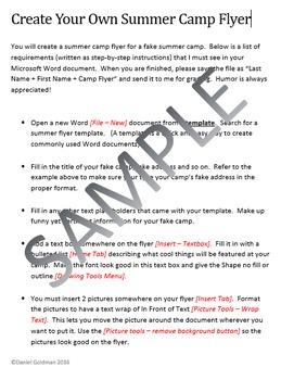 Microsoft Word Skills - Flyer Template Lesson