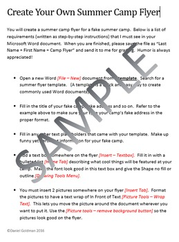 flyer template lesson activity for teaching microsoft word skills