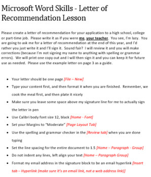 Microsoft Word Skills - Letter of Recommendation