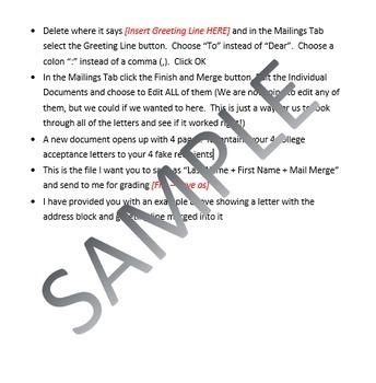 Microsoft Word Skills - Mail Merge Lesson