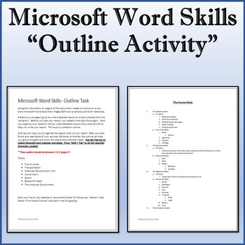 Microsoft Word 2013 Skills - Outline Lesson