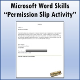 Microsoft Word Skills - Permission Slip Lesson