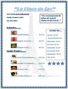 Restaurant Menu Lesson Activity for Teaching Microsoft Word Skills