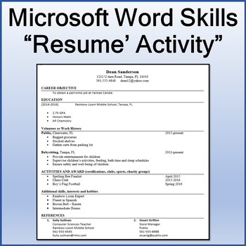 resume lesson activity for teaching microsoft word skills by