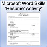 Resume Lesson Activity for Teaching Microsoft Word Skills