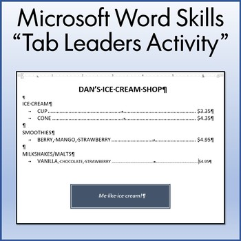 Tab Leaders Lesson Activity for Teaching Microsoft Word Skills