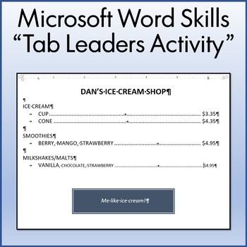 Microsoft Word 2013 Skills - Tab Leaders Lesson