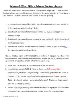 Microsoft Word Skills - Table of Contents Lesson