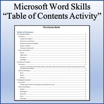table of contents lesson activity for teaching microsoft word skills