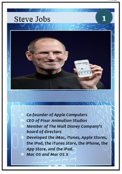 Microsoft Word Skills - Tech Leaders Trading Cards Lesson