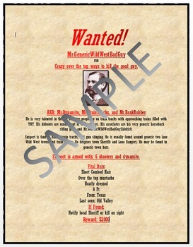 wanted poster lesson activity for teaching microsoft word skills