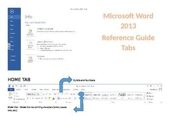 Microsoft Word 2013 - Tab Reference Sheet