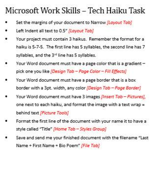 Microsoft Word Skills - Tech Haiku Lesson