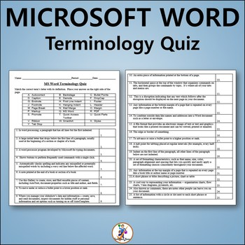Vocabulary Quiz and Word List for Teaching Microsoft Word