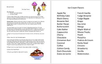 Microsoft Word 2016 Activity- Creating Columns in Word (Ice Cream Flavors)