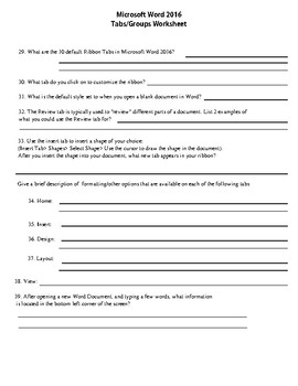 Microsoft Word 2016 Tabs/Groups Worksheet