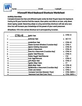 Microsoft Word Basic Keyboard Shortcuts Worksheet