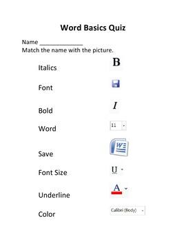 Microsoft Word Basics Set of Quizzes