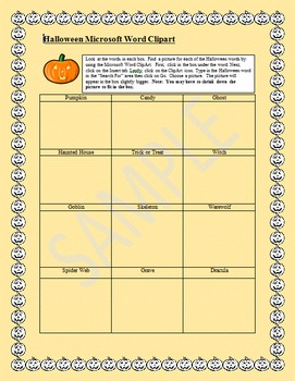 Microsoft Word Clipart Activity:  Halloween