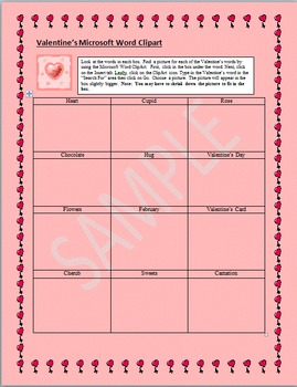 Microsoft Word Clipart Activity:  Valentine's