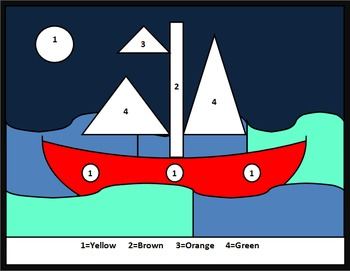Microsoft Word Color by number - Boat