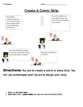 Microsoft Word- Comic Strip Assignment Using Autoshapes
