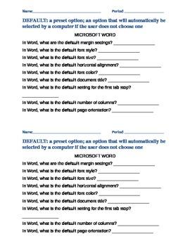 Microsoft Word Default Settings Questions