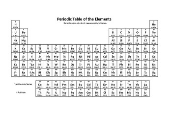 Bright image within printable periodic table black and white