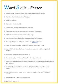 Microsoft Word Exercise Worksheet - Easter