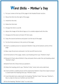 Microsoft Word Exercise Worksheet – Mother's Day