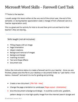 Microsoft Word - Farewell Card Activity