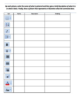 Microsoft Word Icon Identification Worksheet