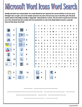 microsoft word icons word search by mr antill teachers pay teachers. Black Bedroom Furniture Sets. Home Design Ideas