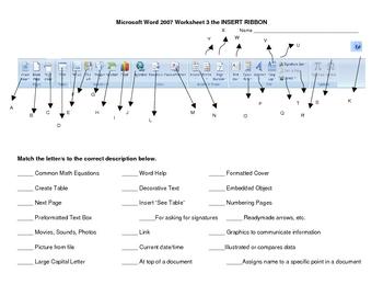Worksheets Microsoft Worksheet microsoft word insert ribbo by sandra gibbs teachers pay ribbon worksheet