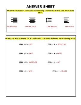 Microsoft Word Keyboard Shortcuts Practice Sheet