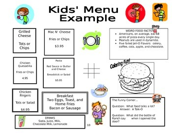 Microsoft Word Kid's Menu
