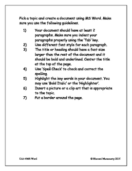 Microsoft Word (Lower Elementary)