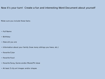 Microsoft Word Power Point Lesson 3rd grade- 5th grade