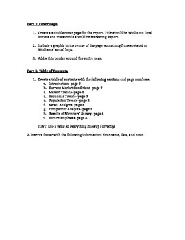 Microsoft Word Practice- Cover Page, Table of Contents, Tables
