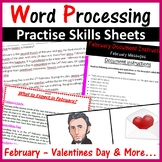 Microsoft Word Processing Activity: February, Valentines, Rosa Parks and Lincoln