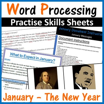 Microsoft Word Processing Activity - January, The New Year 2019, MLK Activities